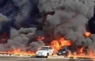 إصابة 17 شخصا في حريق ضخم عقب كسر خط لنقل المازوت